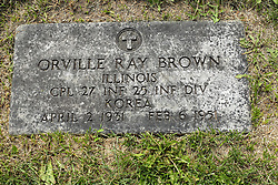 31 August 2017:   Veterans graves in Park Hill Cemetery in eastern McLean County.<br /> <br /> Orville Ray Brown  Corporal 27 INF 25 INF DIV Korea April 2 1931  Feb 6 1951