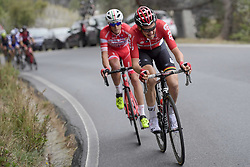 March 18, 2017 - San Remo, Italie - SANREMO, ITALY - MARCH 18 : WELLENS Tim (BEL) Rider of Team Lotto - Soudal and CATTANEO Mattia (ITA) Rider of Androni Giocattoli are attacking on the Cipressa climb during the UCI WorldTour 108th Milan - Sanremo cycling race with start in Milan and finish at the Via Roma in Sanremo on March 18, 2017 in Sanremo, Italy, 18/03/2017  (Credit Image: © Panoramic via ZUMA Press)