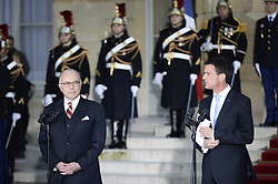 Outgoing Prime Minister Manuel Valls delivers his speech during a ceremony of transfer of power with his successor Bernard Cazeneuve, the outgoing Minister of the Interior, at the Prime Minister's office Hotel de Matignon, in Paris, France on December 6, 2016. Valls has resigned to declare himself a candidate for the presidency, four days after President Francois Hollande announced he would not seek re-election next May 2017. Photo by Eliot Blondet/ABACAPRESS.COM