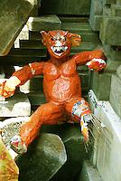 An orange, ceremonial, demonic figure in Bali, Indonesia.