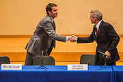 02 JULY 2012 - PARADISE VALLEY, AZ:  Congressmen BEN QUAYLE, son of former Vice President Dan Quayle, left, and DAVID SCHWEIKERT shake hands after speaking at a Republican candidate forum in Paradise Valley Monday. Schweikert and Quayle, both conservative freshmen Republican Congressmen from neighboring districts are facing each other in an August primary to see which one will represent Arizona's 6th Congressional District in 2013. The two were thrown into the same district as a result of legislative redistricting.  PHOTO BY JACK KURTZ