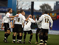 Photo: Mark Stephenson/Sportsbeat Images.<br /> Stockport County v Hereford United. Coca Cola League 2. 17/11/2007.Hereford's Lionel Ainsworth (No 7 ) celebrates his goal with team mates