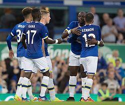 LIVERPOOL, ENGLAND - Tuesday, August 23, 2016: Everton's Aaron Lennon celebrates scoring first goal against Yeovil Town during the Football League Cup 2nd Round match at Goodison Park. (Pic by Gavin Trafford/Propaganda)
