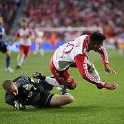 HARRISON, NEW JERSEY- November 06:  Gonzalo Veron #30 of New York Red Bulls is brought down in the penalty area by Evan Bush #1 of Montreal Impact during the New York Red Bulls Vs Montreal Impact MLS playoff match at Red Bull Arena, Harrison, New Jersey on November 06, 2016 in Harrison, New Jersey. (Photo by Tim Clayton/Corbis via Getty Images)