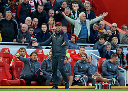 LIVERPOOL, ENGLAND - Sunday, October 7, 2018: Liverpool's manager Jürgen Klopp reacts during the FA Premier League match between Liverpool FC and Manchester City FC at Anfield. (Pic by David Rawcliffe/Propaganda)