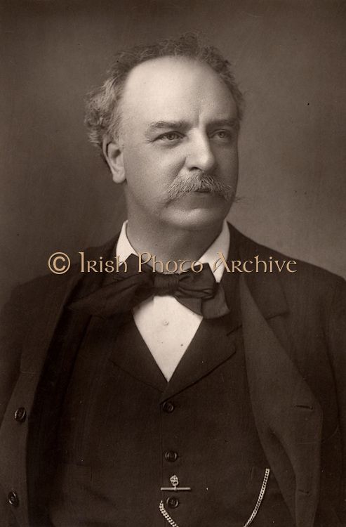 Charles Santley (1834-1922) English baritone, born in Liverpool, who had international success in both opera and oratorio. From 'The Cabinet Portrait Gallery' (London, 1890-1894).  Woodburytype after photograph by W & D Downey.