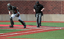 26 April 2014:  Mike Hollenbeck leaves the plate as umpire Bret Bruington calls the third out during an NCAA Division 1 Missouri Valley Conference (MVC) Baseball game between the Southern Illinois Salukis and the Illinois State Redbirds in Duffy Bass Field, Normal IL