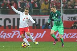 14.11.2016, Stadion Miejski, Wroclaw, POL, Testspiel, Polen vs Slowenien, im Bild Thiago Cionek (POL), Josip Ilicic (SLO) // during the international friendly football match between Poland vs Slovenia at the Stadion Miejski in Wroclaw, Poland on 2016/11/14. EXPA Pictures &copy; 2016, PhotoCredit: EXPA/ Newspix/ Adam Jastrzebowski<br /> <br /> *****ATTENTION - for AUT, SLO, CRO, SRB, BIH, MAZ, TUR, SUI, SWE, ITA only*****