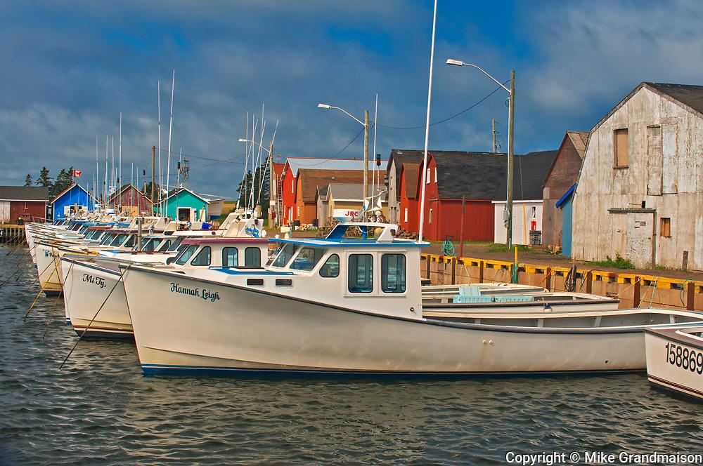 Fishing boats in coastal village<br />Malpeque<br />Prince Edward Island<br />Canada