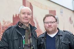 Irvine Welsh with the artist Tom Ewing, unveiling a 22 foot by 10 foot mural at Leith Dockers Club.<br /> &copy; Michael Schofield.