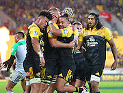 Hurricanes' Ardie Savea (L) & Matt Proctor celebrate a try with Brad Shields during the Round 14 Super Rugby match, Hurricanes v Highlanders at Westpac Stadium, Wellington. 27th May 2016. Copyright Photo.: Grant Down / www.photosport.nz