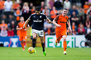 Dundee forward Faissal El Bakhtaoui (#20) accelerates away from Dundee United defender Thomas Scobbie (#3) during the Betfred Scottish Cup group stage match between Dundee and Dundee United at Dens Park, Dundee, Scotland on 29 July 2017. Photo by Craig Doyle.
