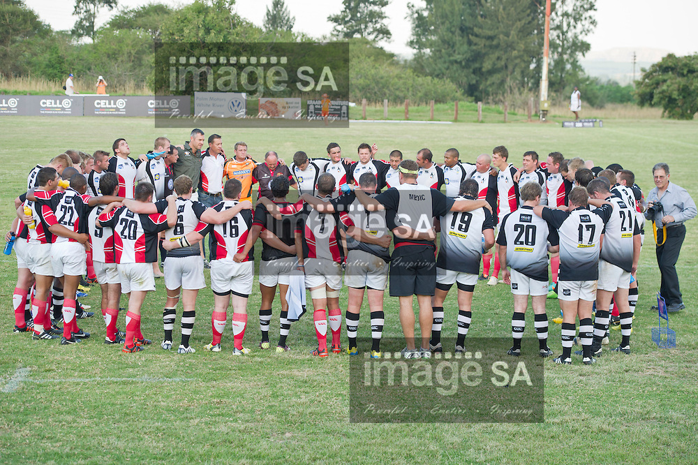 WHITE RIVER, SOUTH AFRICA - SATURDAY MARCH 16 2013,   Teams huddle during match 39 of the Cell C Community Cup rugby match between White River and Broubart Old Selbornian from East London held at the White River Rugby Club, White River, Mpumalanga .Photo by ImageSA