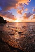 Sunset and the Na Pali Coast from Hideaways Beach, Island of Kauai, Hawaii