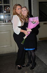 Lauren Goodger greets Marina Laslo at Marino Laslo's gig at St James Theatre, Victoria, London on Saturday 22 February 2014