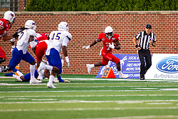 NORMAL, IL - September 07: Jeff Proctor heads up the sidelines during a college football game between the ISU (Illinois State University) Redbirds and the Morehead State Eagles on September 07 2019 at Hancock Stadium in Normal, IL. (Photo by Alan Look)