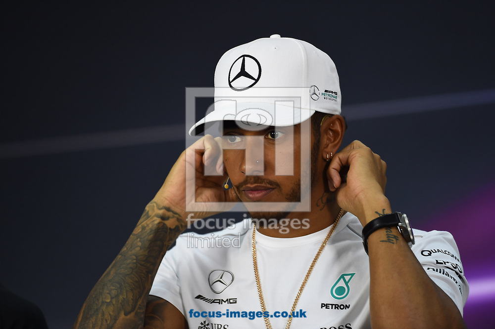 Lewis Hamilton of Mercedes AMG Petronas in a press conference during the Bahrain Formula One Grand Prix Preparations at the International Circuit, Sakhir<br /> Picture by EXPA Pictures/Focus Images Ltd 07814482222<br /> 13/04/2017<br /> *** UK &amp; IRELAND ONLY ***<br /> <br /> EXPA-EIB-170413-0091.jpg