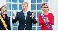 16-9-2014 THE HAGUE - Prinsjesdag Prince Constantijn and Princess Laurentien and Queen Maxima and King Willem-Alexander on the balcony of palace Noordeinde in The Hague  COPYRIGHT ROBIN UTRECHT