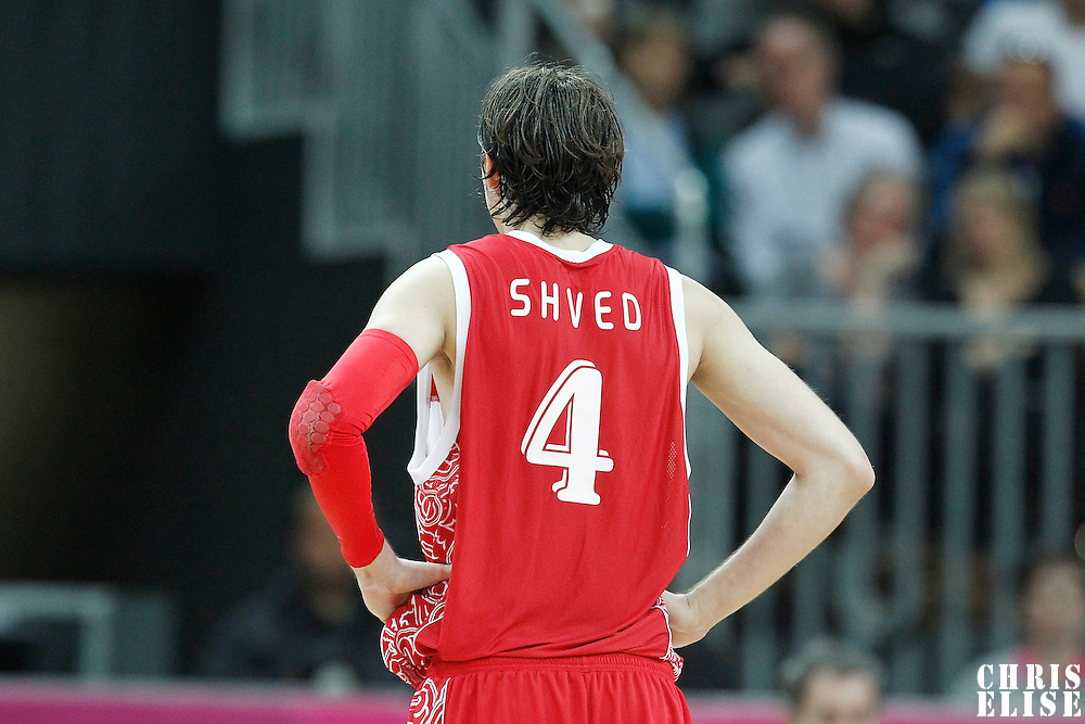 31 July 2012: Russia Alexey Shved rests during the 73-54 Russia victory over China, during the men's basketball preliminary, at the Basketball Arena, in London, Great Britain.