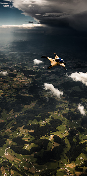 Leander Nardin flying his wingsuit over Freistadt/AT