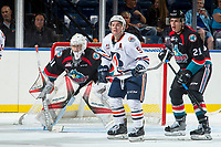 KELOWNA, CANADA - SEPTEMBER 5: Jackson Shepard #9 of the Kamloops Blazers looks for the pass in front of |Kyle Pow #21 and Brodan Salmond #31 of the Kelowna Rockets on September 5, 2017 at Prospera Place in Kelowna, British Columbia, Canada.  (Photo by Marissa Baecker/Shoot the Breeze)  *** Local Caption ***