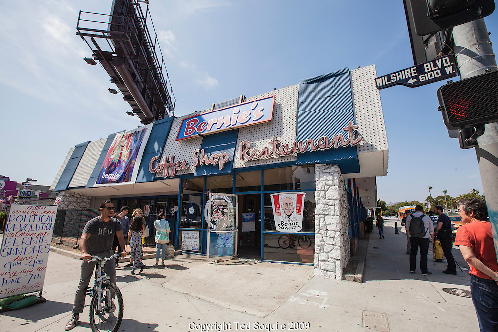 "The defunct Johnies Coffee Shop Restaurant opened for the next month as Bernie's Coffee Shop. The historic coffee shop has been featured in several films including ""Reservoir Dogs"" and ""The Big Lebowski."" The coffee shop will serve as the LA headquarters for presidential candidate Bernie Sanders. Decals and posters are available for sale inside the shop. Volunteers for the campaign can also sign up inside."