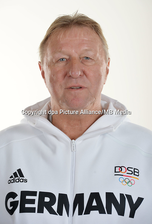 Horst Hrubesch poses at a photocall during the preparations for the Olympic Games in Rio at the Emmich Cambrai Barracks in Hanover, Germany. July 25, 2016. Photo credit: Frank May/ picture alliance. | usage worldwide