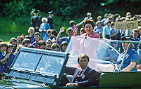 HRH, Princess Margaret, on a two day Royal Visit to N Ireland was the guest of Guides and Brownies at Lorne, Craigavad, near Belfast, gets an open-top tour of the 21 acre estate which offers a wide range of training and recreational facilities for the movement. Princess Margaret is accompanied by Mrs Eva Eves, the Chief Commissioner. 19840075a<br />