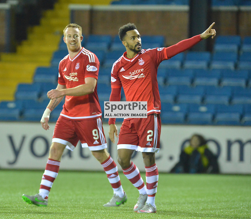 Shaleum Logan of Aberdeen salutes his team's fans after he put the Dons 4-0 up BILLY WHITE | SportPix.org.uk