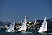 alcatraz, sailboat, sailing, ferry, ferry boat, San Francisco Bay, San Francisco, California
