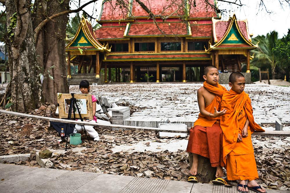 Local young monks at Dai Minority Park.