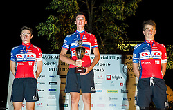 Jan Bevc, Bostjan Murn and Aljaz Omerzel of KK Adria Mobil at Trophy ceremony after the cycling race Night Criterium - Kranj 2016, on July 30, 2016 in Kranj, Slovenia. Photo by Vid Ponikvar / Sportida