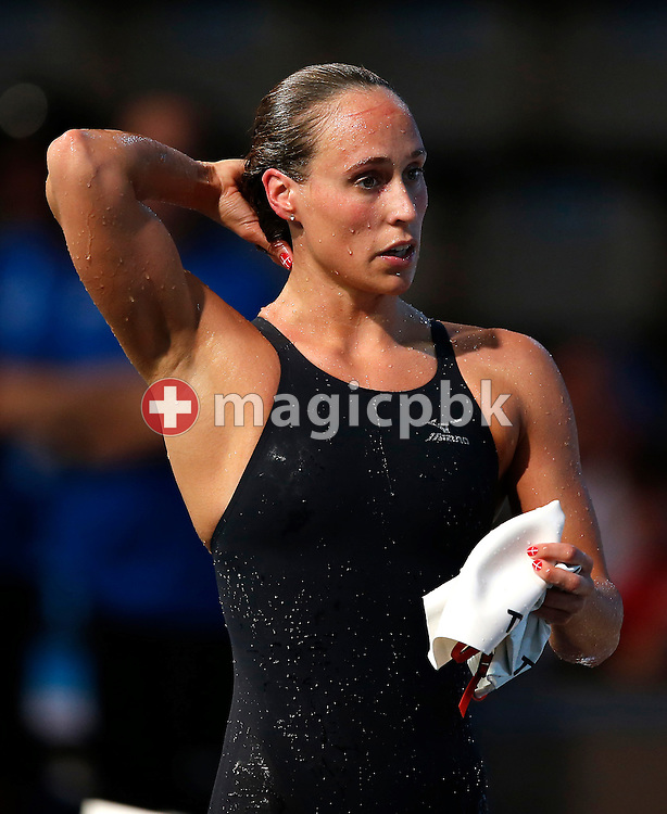 Second placed Rikke Moller Pedersen of Denmark on her way out after competing in the women's 200m Breaststroke Final during the 15th FINA World Aquatics Championships at the Palau Sant Jordi in Barcelona, Spain, Friday, Aug. 2, 2013. (Photo by Patrick B. Kraemer / MAGICPBK)