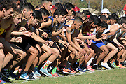 The start of the men's race during the Southern California Community College cross country finals in Cerritos, Calif., Friday, Nov. 2, 2018. (Kirby Lee via AP)