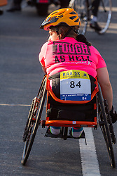 Boston Marathon: BAA 5K road race, wheelchair athlete at start,