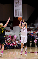February 18, 2010; Stanford, CA, USA;  Stanford Cardinal guard JJ Hones (10) shoots a jump shot over Oregon Ducks guard Micaela Cocks (2) during the first half at Maples Pavilion.  Stanford defeated Oregon 104-60.