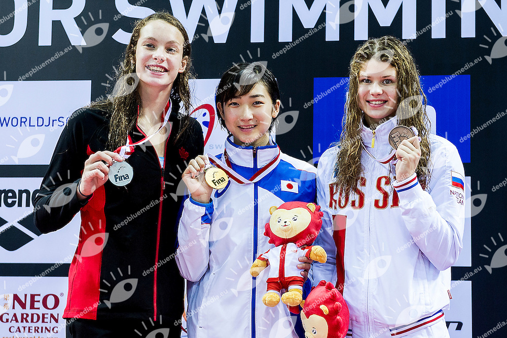 Podium<br /> IKEE Rikako JPN Gold Medal<br /> OLEKSIAK Penny CAN Silver Medal<br /> KAMENEVA Mariia  RUS Bronze Medal<br /> 50 Butterfly Women Final <br /> Day04 28/08/2015 - OCBC Aquatic Center<br /> V FINA World Junior Swimming Championships<br /> Singapore SIN  Aug. 25-30 2015 <br /> Photo A.Masini/Deepbluemedia/Insidefoto