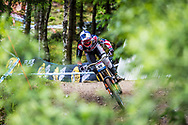 Aaron Gwin could only manage third place after taking a tumble  during his race run  at the Fort William UCI Mountain Bike World Cup.
