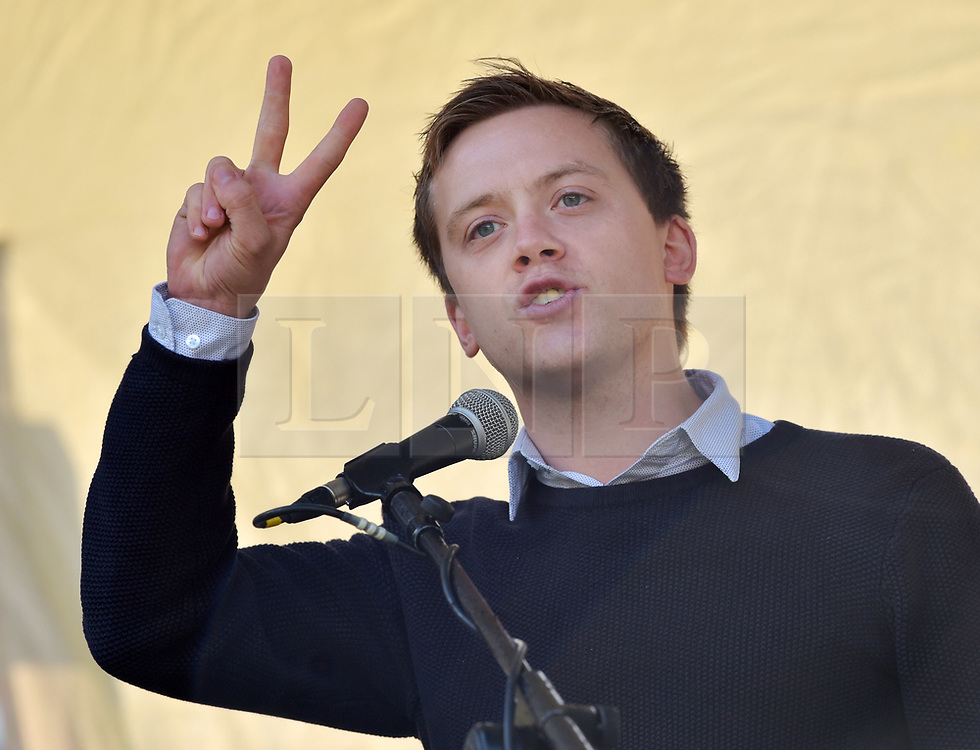 © Licensed to London News Pictures.  09/09/2017; Bristol, UK. OWEN JONES at the Bristol March Against Austerity. Bristol's elected Mayor Marvin Rees and Bristol People's Assembly have called a march and rally against the severe cuts in local government funding that Bristol City Council is facing from central government. A coalition of organisations, led by Bristol People's Assembly, have come together to send a powerful message to the Conservative Government to give Bristol and other cities the funding need to keep vital public services. Mayor Rees will take part in a delegation of core UK cities to lobby the Government on Tuesday 12 September.<br /> Speakers at the Bristol rally include Owen Jones. Picture credit : Simon Chapman/LNP