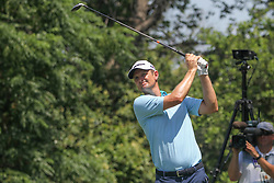 May 25, 2018 - Fort Worth, TX, U.S. - FORT WORTH, TX - MAY 25: Justin Rose (ENG) hits from the 9th tee during the second round of the Fort Worth Invitational on May 25, 2018 at Colonial Country Club in Fort Worth, TX. (Photo by George Walker/Icon Sportswire) (Credit Image: © George Walker/Icon SMI via ZUMA Press)
