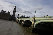 London's Westminster Bridge and Big Ben, seen from the Southbank.