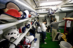 Players in wardrobe at first practice of Slovenian National Ice hockey team before World championship of Division I - group B in Ljubljana, on April 5, 2010, in Hala Tivoli, Ljubljana, Slovenia.  (Photo by Vid Ponikvar / Sportida)