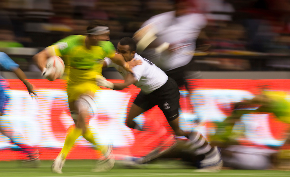 Fiji plays Australia in the third place play-off at the HSBC Sevens World Series XVII Round 6 at B.C. Place Stadium in Vancouver British Columbia on March 13, 2016. Australia beat Fiji 19-12. (KevinLight/CBCSports)