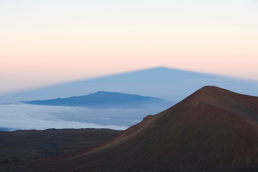Mauna Kea; Mauna Loa; shadow of Mauna Kea at sunrise