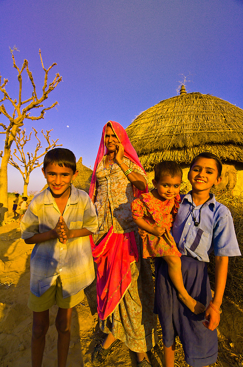 Family in a village in the Thar Desert near Khimsar, Rajasthan, India