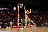 SYDNEY, AUSTRALIA - AUGUST 24: Caitlin Bassett of the Giants goes up for the ball during the round 14 Super Netball match between the Giants and the West Coast Fever at Qudos Bank Arena on August 24, 2019 in Sydney, Australia.(Photo by Speed Media/Icon Sportswire)
