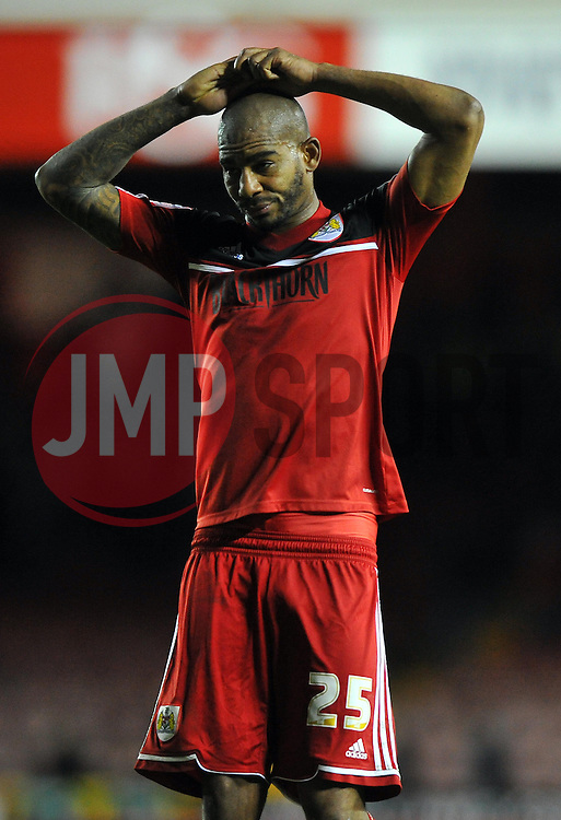 Bristol City's Marvin Elliott cuts a frustrated  figure on the final whistle - Photo mandatory by-line: Joe Meredith/JMP  - Tel: Mobile:07966 386802 17/11/2012 - Bristol City v Blackpool - SPORT - FOOTBALL - Championship -  Bristol  - Ashton Gate Stadium -