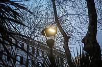 ROME, ITALY - 20 MARCH 2017: A white light LED lamppost is seen here in the Coppedè neighborhood in Rome, Italy, on March 20th 2017.<br /> <br /> Rome is undergoing a city-wide plan to change its public illumination from the current yellow sodium street lights CK to white LED lamps. In making the change, Rome joins a long line of cities around the world that have switched to the cheaper, and more environmentally friendly LED lighting, and it is not the first city where that change has come at the price of protest.<br /> <br /> Since July, some 100,000 led lights have already been installed, just over half the number that will be substituted in the 53 million euro changeover that is expected to save the city millions of euros in electrical bills. But when Rome's municipal electrical utility ACEA began to substitute the lamps in Rome's historic center, residents began to take note.