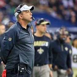 Nov 29, 2015; Houston, TX, USA; New Orleans Saints head coach Sean Payton against the Houston Texans during the first quarter of a game at NRG Stadium. Mandatory Credit: Derick E. Hingle-USA TODAY Sports