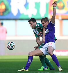 09.11.2014, Ernst Happel Stadion, Wien, AUT, 1. FBL, SK Rapid Wien vs FK Austria Wien, 15. Runde, im Bild Thanos Petsos (SK Rapid Wien) und Alexander Gruenwald (FK Austria Wien) // during a Austrian Football Bundesliga Match, 15th Round, between SK Rapid Vienna and FK Austria Vienna at the Ernst Happel Stadion, Wien, Austria on 2014/11/09. EXPA Pictures © 2014, PhotoCredit: EXPA/ Thomas Haumer